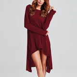 Ladies Casual Knitted Long Sleeve Hem Mid-calf Plus Size Dresses