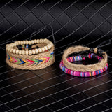 Beaded Multilayer Handmade Hemp Rope Woven Bracelets