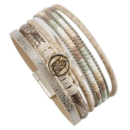 Multilayer Rope Metal Charm Bohemian Leather Bracelet