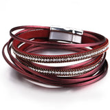Multilayer Leather Magnet Clasp Crystal Bohemian Style Bracelet