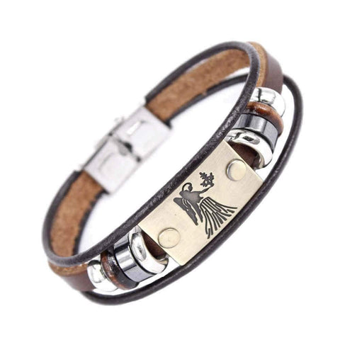 Image of Beaded Charm Zodiac Signs Leather Bracelet