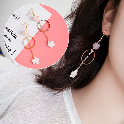 Natural Stone Beads Fur Star Moon Heart Acrylic Stud Earrings