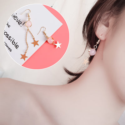 Image of Natural Stone Beads Fur Star Moon Heart Acrylic Stud Earrings