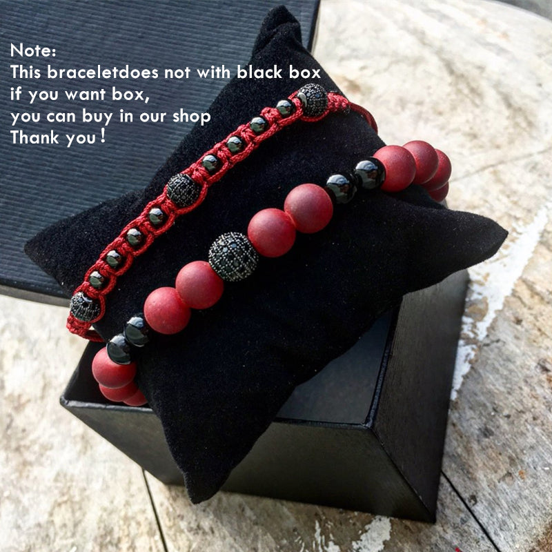 2Pcs Red Natural Stone Beads Micro CZ Woven Bracelet