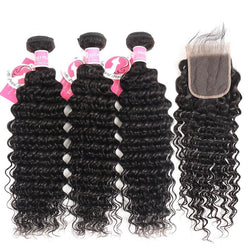 Deep Wave Bundles With Closure Human Hair