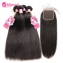 100% Human Hair Bundles With Closure Brazilian Straight Hair Weave 3 Bundles Natural Black