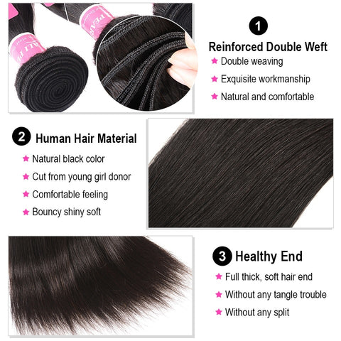 Image of 100% Human Hair Bundles With Closure Brazilian Straight Hair Weave 3 Bundles Natural Black
