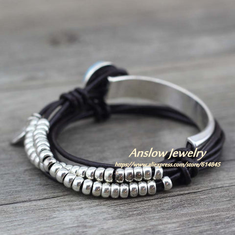 Image of Summer Style Resin Unique Silver Beads Leather Bracelet