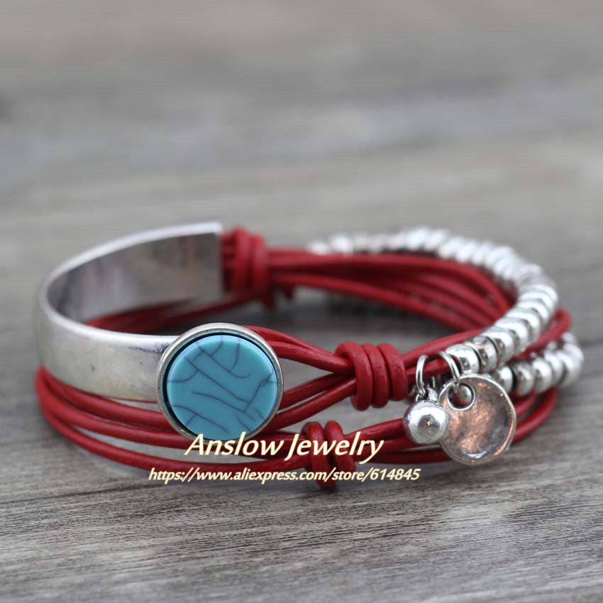 Summer Style Resin Unique Silver Beads Leather Bracelet
