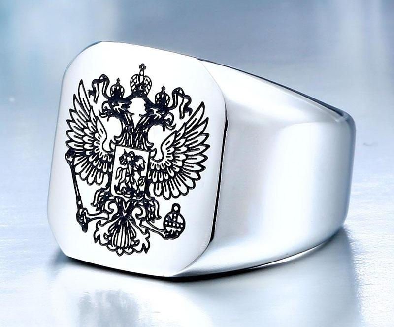 Stainless Steel Eagle Man Ring With A Coat Of Arms Of The Russian