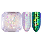 AB Color Nail Glitter Flakes Irregular Star Round Iridescent Sequins Powder Nail Art Decoration Chrome