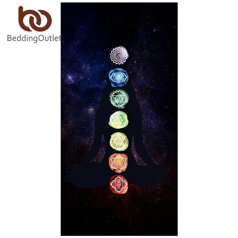 7 Chakra Rainbow Stripes Beach Yoga Mat