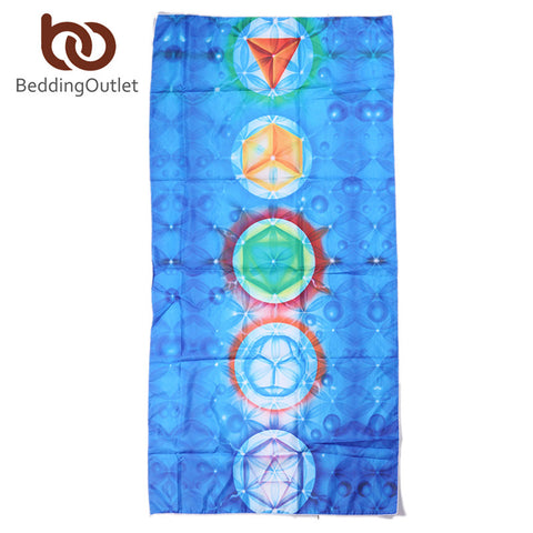 Image of 7 Chakra Rainbow Stripes Beach Yoga Mat