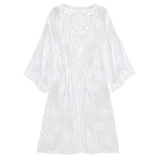 Embroidered Sheer Swimsuit Bathing Suit Cover Up