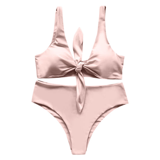 Tied Bowknot High Waist Bikini Set