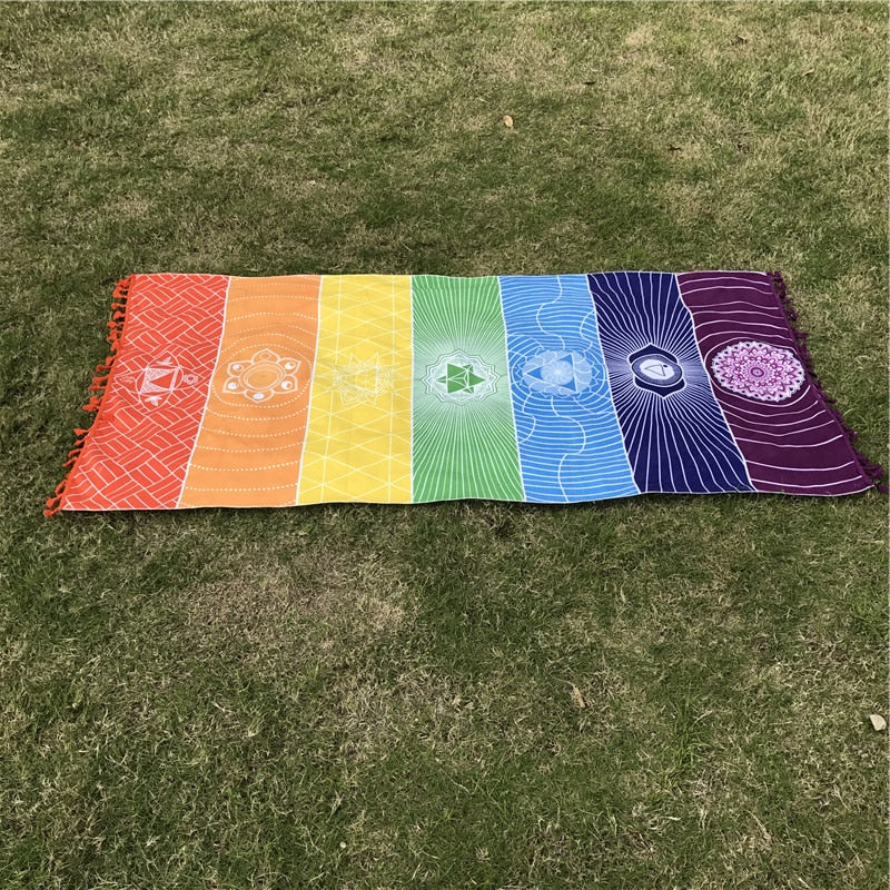 India Mandala 7 Chakra Rainbow Stripes Tapestry Beach Yoga Mat