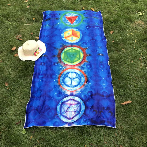 Image of India Mandala 7 Chakra Rainbow Stripes Tapestry Beach Yoga Mat