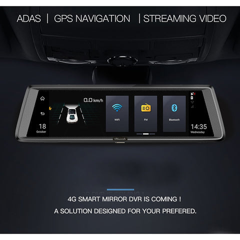 "Image of 10"" 4G Dashcam Android mirror DVR GPS navigation ADAS Full HD 1080P"