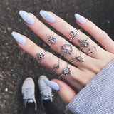 9pcs Vintage Crystal Lucky Stackable Midi Knuckle Ring