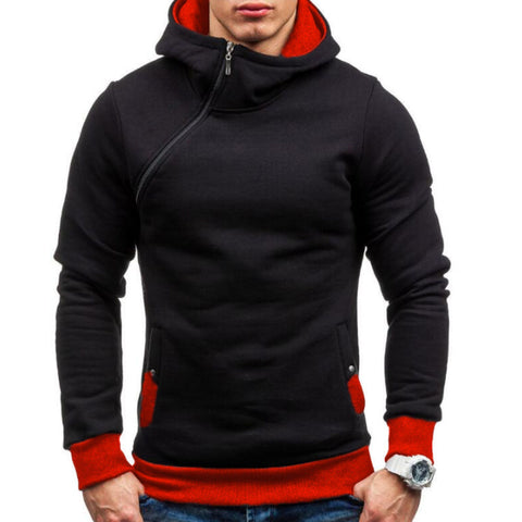 Image of Hoodie Oblique Zipper Tracksuit Male Sweatshirt