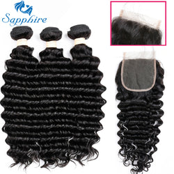 Brazilian Deep Wave Hair Human Hair Bundles With Closure