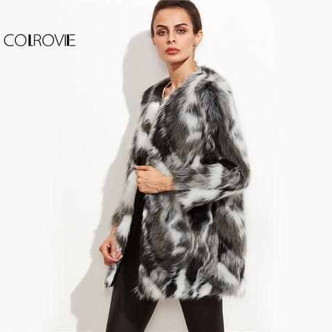 Image of Faux Fur Fuzzy Coat