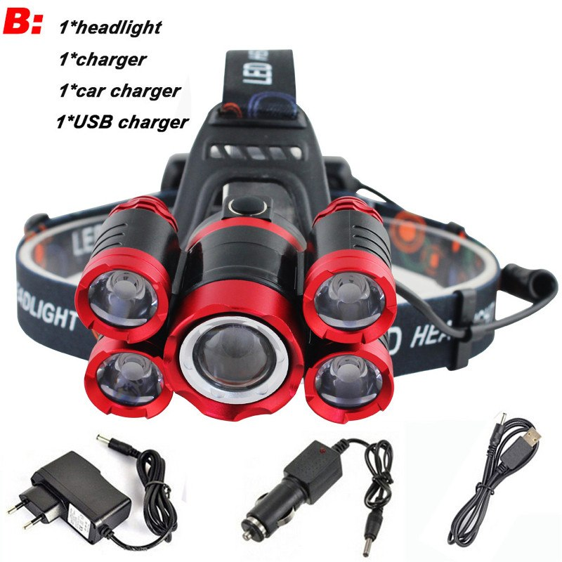 CREE 5*LED XML T6 20000 Lumens 4mode Zoomable Head Lamp flashlight