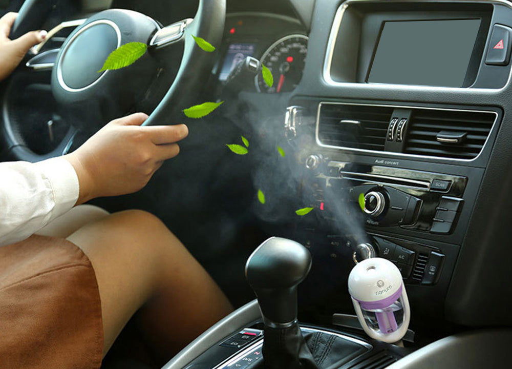 Car Aroma 12V Steam Air Humidifier Mini Air Purifier Aromatherapy Essential Oil Diffuser
