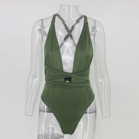 Image of Sexy Halter Neck Deep V Sleeveless Backless Swimsuit