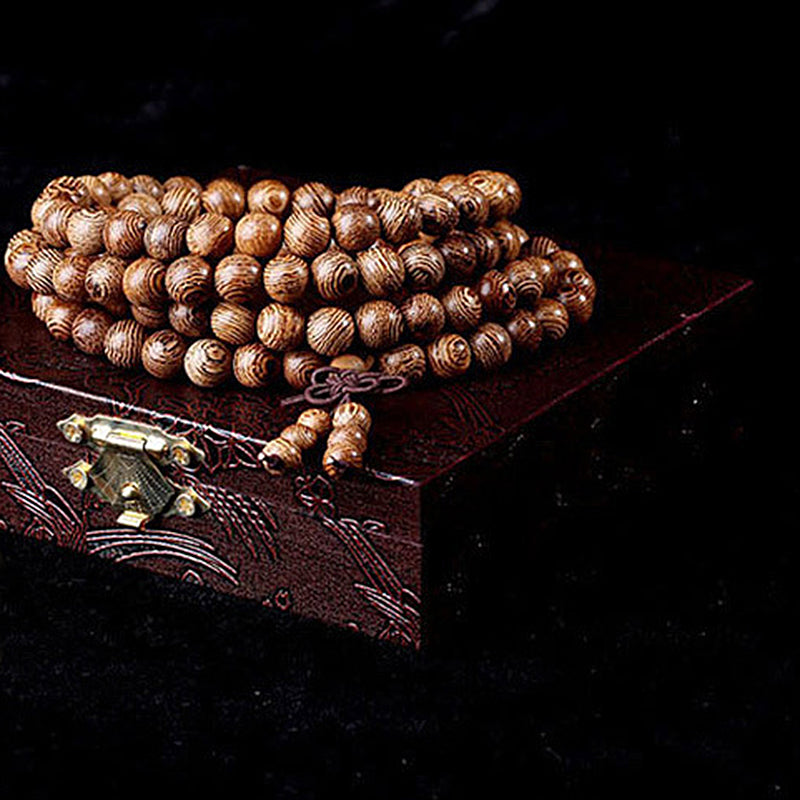 Natural Sandalwood Buddhist Beads Bracelet