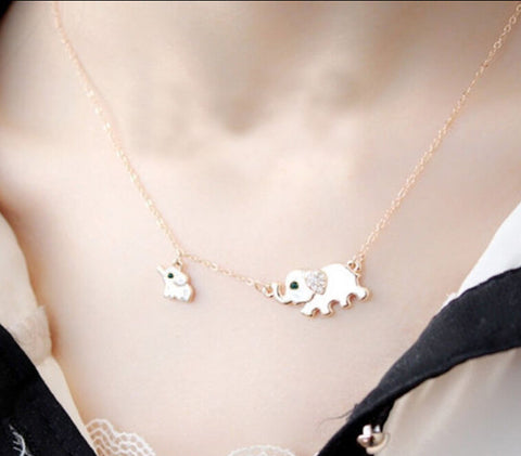 Image of Cute Elephant Family Stroll Design Charming Crystal Choker Necklace