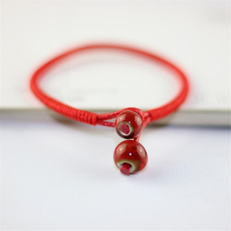 Lucky Bead Red String Ceramic bracelets Handmade Lovers Accessories
