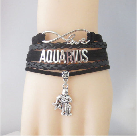 Image of Handmade Vintage Infinity Love Zodiac Sign Leather Bracelets