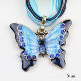 Inlaid Butterfly Sweater Chain Necklace