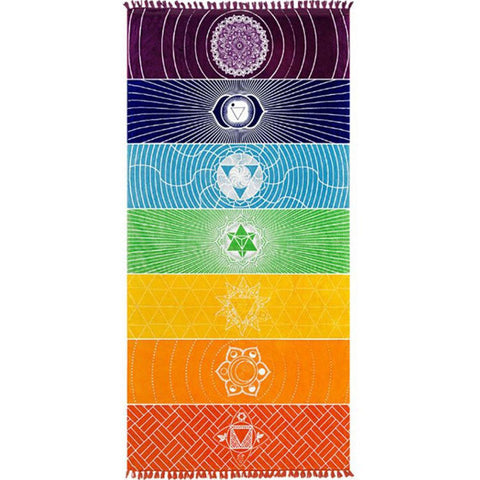 Image of Single Rainbow Chakra Tapestry Yoga Mat