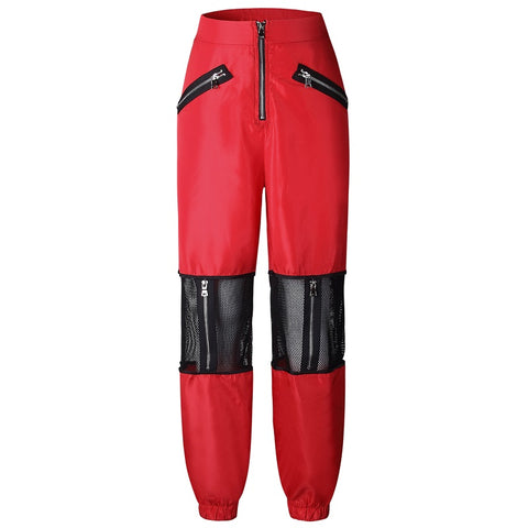 Image of Red Mesh Casual High Waist Trousers Streetwear