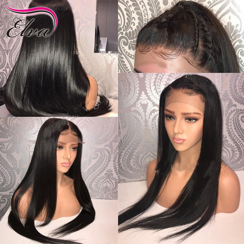 Image of Lace Front Human Hair Wigs Straight Brazilian Remy Hair