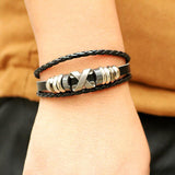 South Korea Popular Beaded Wax Skull Anchor Rope Stainless Steel Bracelet