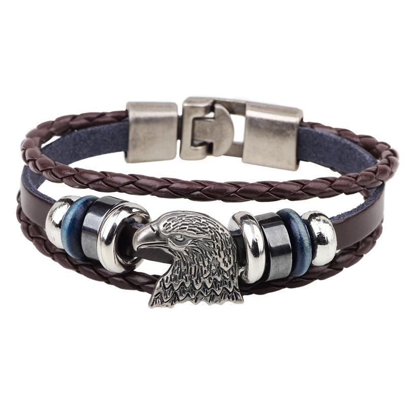 Punk Vintage Bald Eagle Leather Charm Bracelet