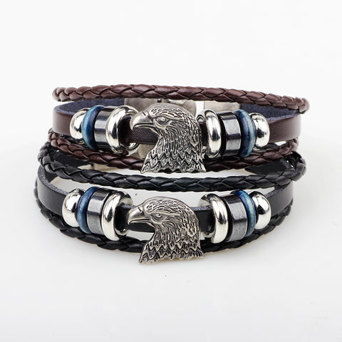 Image of Punk Vintage Bald Eagle Leather Charm Bracelet