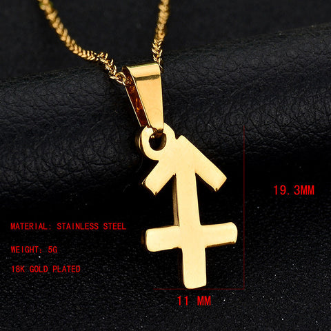 316L Stainless Steel Choker Necklace 12 Zodiac Sign Charm Pendant Collar For Birthday Gift