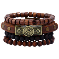 Handmade Trendy Vintage Wood Bead Charm Leather Bracelet