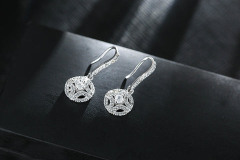 Image of 925 Sterling Silver Round With Full Zirconia Crystal Tassel Earrings