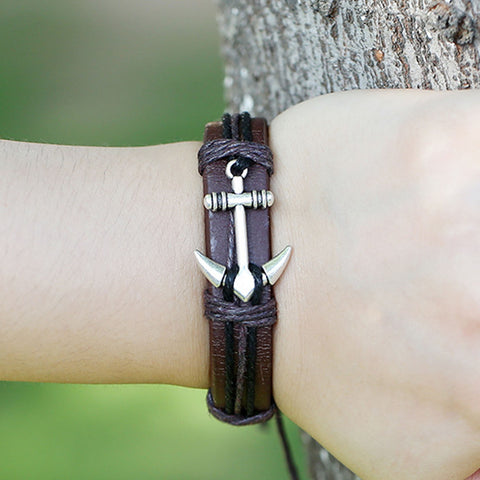 Image of Anchor Alloy Leather Charm Bracelets & Bangles