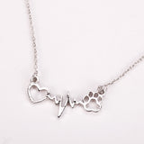 Cute Pets Dogs Footprints Paw Heart Love Necklace