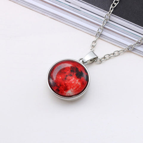 Glow In Dark Moon Pendant Necklace