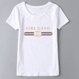 Harajuku Fashion Girl Gang Print Short Sleeve Tops