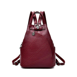 Women School Leather Backpack