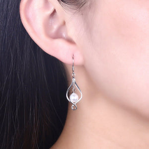 925 Sterling Silver Twist Spiral with Natural Pearl Earring