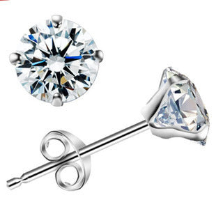 Zircon 925 Sterling Silver Ladies Stud Earrings